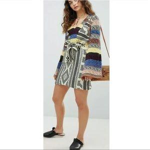 Free People Patchwork Sweater Dress Medium